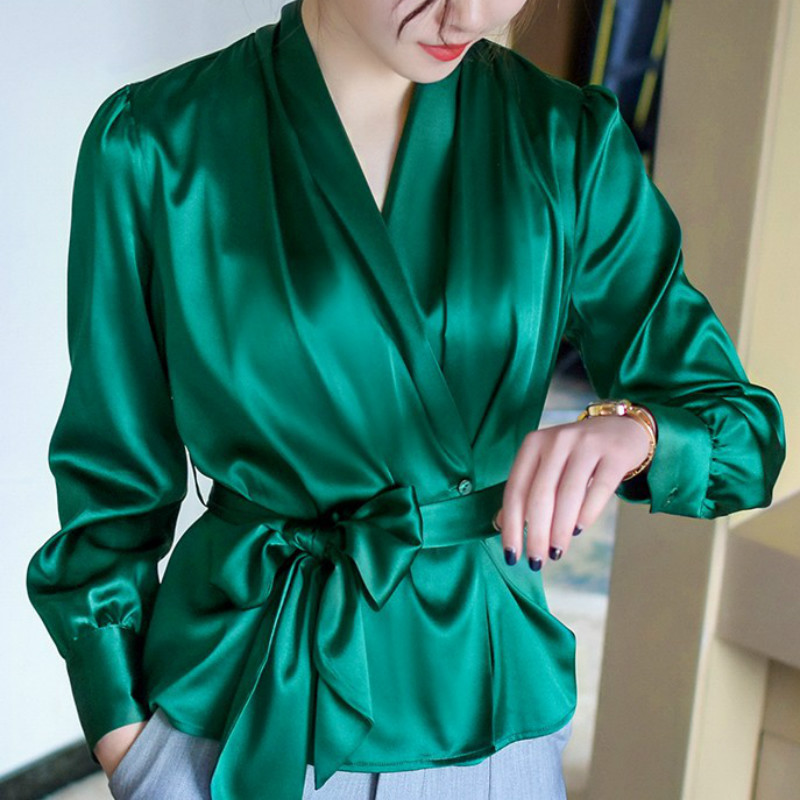 Women Faux Silk OL Shirt waist tie with bowtie V-neck satin Blouses elegant Cardigan long-sleeved Stitching Tops with Belt 2018 Сумка