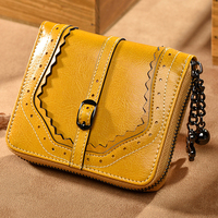 Vintage Simple Oil Wax Genuine Leather Purse Female Short Section Zipper Small Hollow Out Purse Thin Wallet Lady Coin Holder