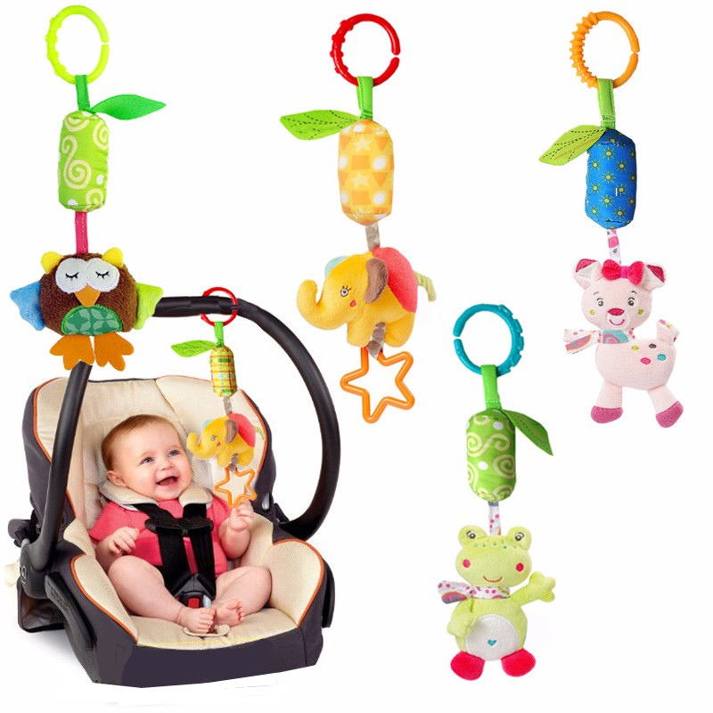 Baby Animal Soft Rattles Toys for baby 0 12 month Bed Crib Stroller Music Hanging Bell kids Stuffed Toys Mobile Baby Plush Toy-in Baby Rattles & Mobiles from Toys & Hobbies