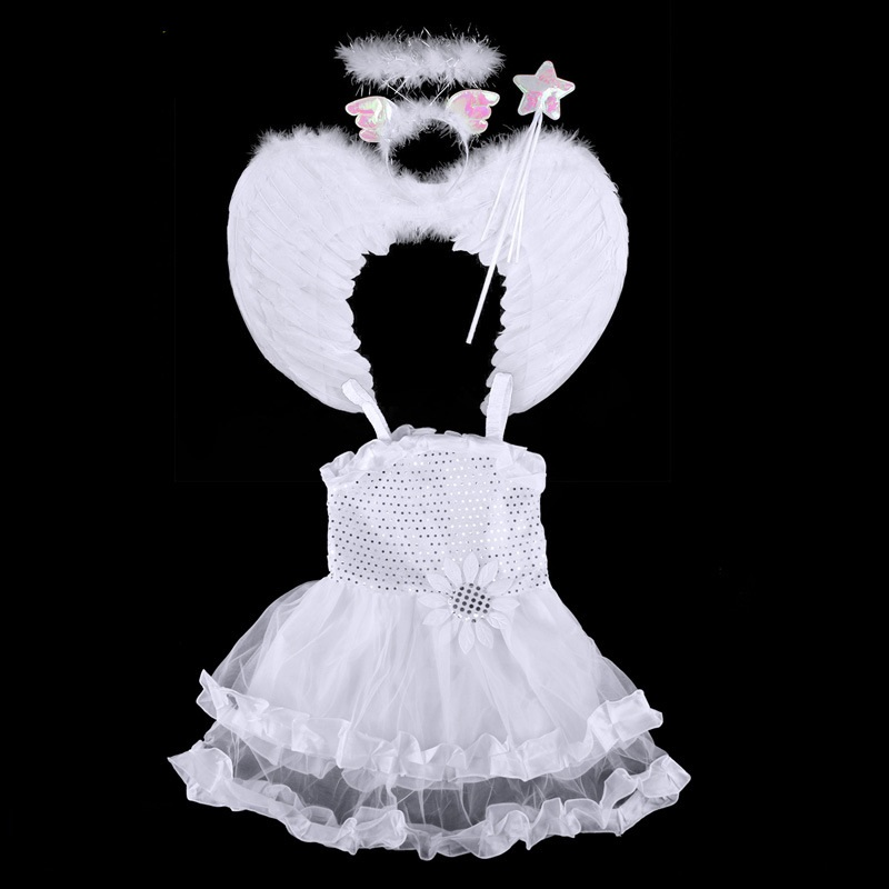 Lovely Angel Cosplsy Dress Four-piece Suit Wing Headwear Fairy Gold Pink/White Girls Costume Flash Suit
