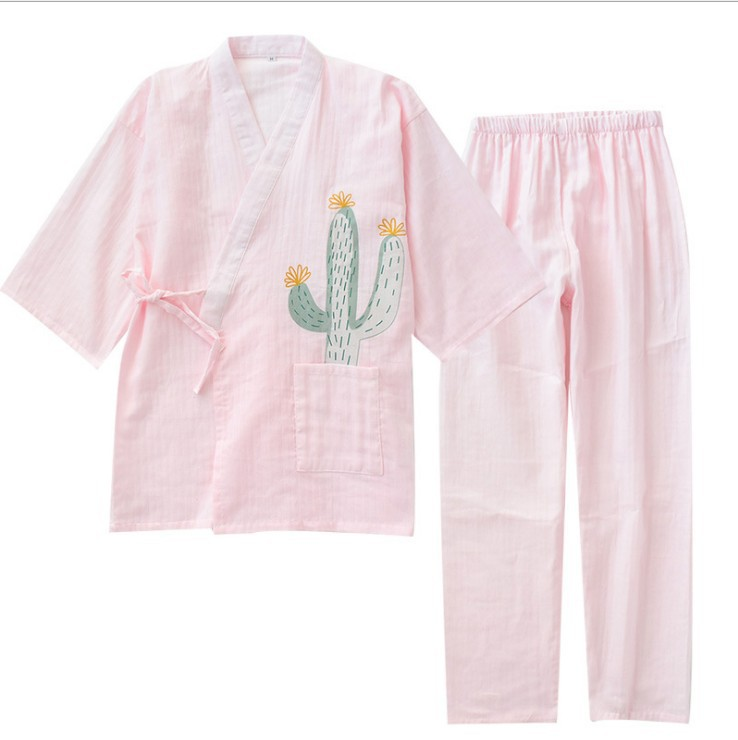 Summer&autumn Double Gauze Short-sleeved Pants Cute Japanese Kimono Women   Pajama     Set   100% Cotton   Pajamas   V-Neck Pijama Mujer