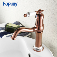 Fapully Rose Golden Finish Bathroom Faucet Single Handle Mixer Tap Sink Basin Faucets Porcelain Ceramic Decoration 591