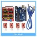 CNC Tarjeta de Expansión Shield V3.0 + UNO R3 Junta para Arduino + Kits de Conductor Del Motor de Pasos A4988 Con Disipador de Calor para Arduino