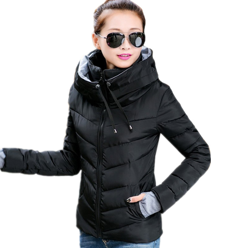 k'raifls 2019 Causal Ladies Solid Padded Short Autumn Winter Wadded Jacket Hooded