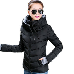2019 Causal Ladies Solid Padded Jacket Short Autumn Winter Wadded Jacket Women Hooded Coats Female Parkas With Gloves Overcoat
