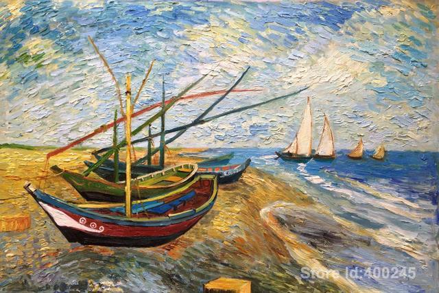 47f32992627 Famosa pintura a Óleo Barcos De Pesca na Praia em Saintes Maries Vincent  Van Gogh pintado