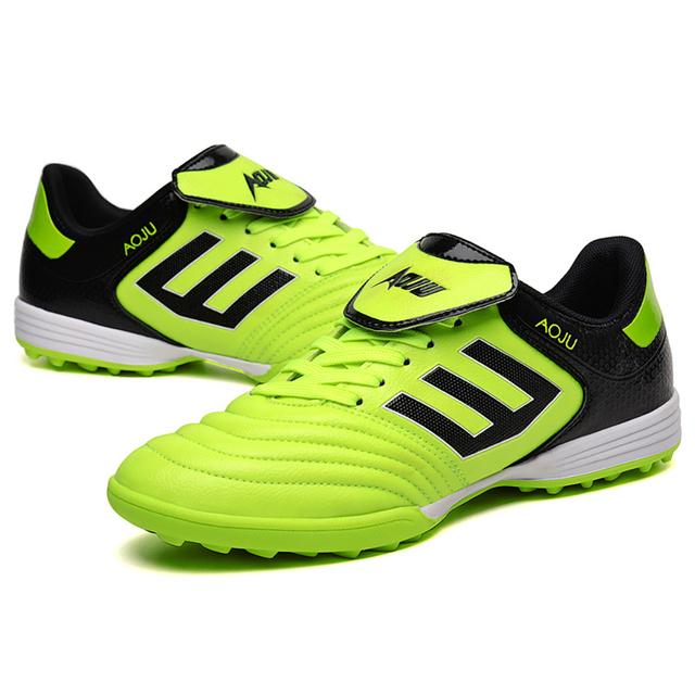 AOJU Football Boots Soccer Shoes Men Lightweight Football Shoes For Sale Kids Cleats TF Soccer Shoes Chuteira Futebol 4 Colors