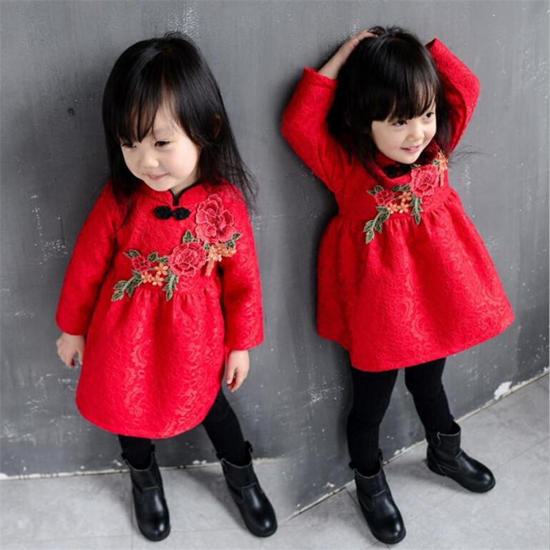 Toddler Girl Dresses Chinese New Year Lace Embroidery Flowers Long Sleeve Baby Girl Clothes A-Line Red Dress For Party Spring toddler girl dresses chinese new year lace embroidery flowers long sleeve baby girl clothes a line red dress for party spring
