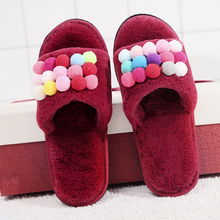 2018 Short Plush Mixed Colors Women Winter Shoes Sweet Indoor House With Fur Flats  Slippers