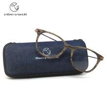 CHsing CS66028 retro acetat runde rahmen rahmen Mode brillengestell für männer metall streifen spiegel beine