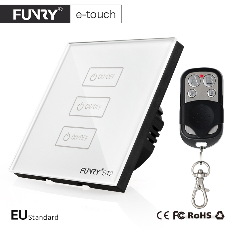 FUNRY EU Standard Switch, Crystal Glass Panel,3 Gang 1 way, Wireless Remote Control Touch Switch Compatible Broadlink RM2 RM Pro funry eu uk standard 1 gang 1 way led light wall switch crystal glass panel touch switch wireless remote control light switches