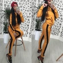 ZOGAA Spring 2019 Casaul Tracksuit Women 2 Piece Set Top And Pants  Striped Patchwork Zipper Sexy Sweatshirt Sweat Suit