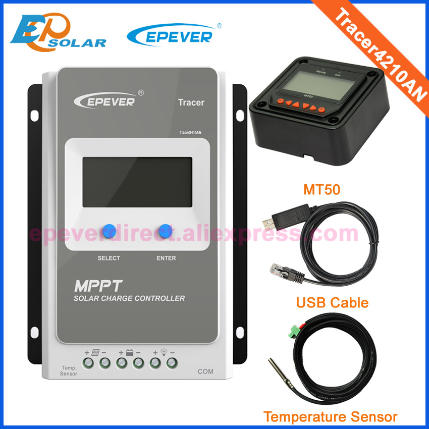 Tracer4210AN 40A MPPT solar charge controller with MT50 remote meter USB and temperature sensor epsolar mppt tracer4215bn 40a 40amp solar controller with mt50 usb and sensor