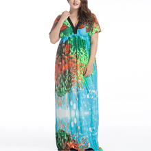 2017 Bohemian Women Summer Beach Dress Plus Size 6XL 7XL V Neck Batwing Sleeve Maxi Dress Vestido longo robe femme