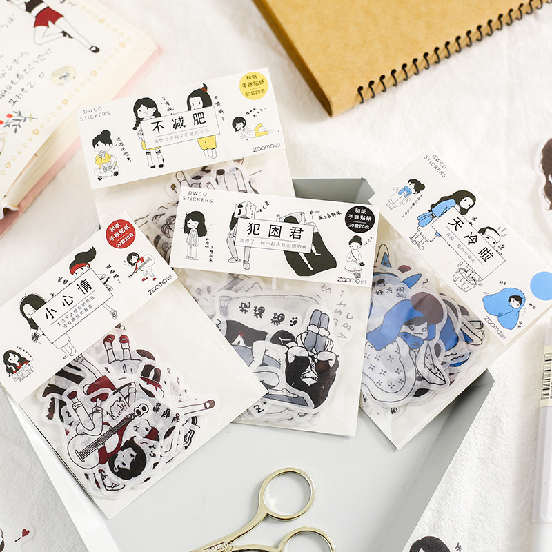 Salt Little person Decoration Adhesive Stickers set Cute Cartoon girl Stickers Diary Sticker Scrapbo