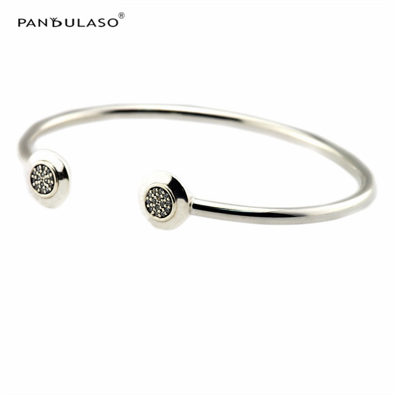 Fashion Clear CZ Crystal Signature Open Bangles for Women & Men 925 Sterling Silver Jewelry Girls Charms Bracelets & Bangles