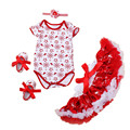 Christmas Party Newborn Girl Party Dress Short Sleeve Climbing Clothes + Tutu Dress + Shoes + Headband 4pcs Fashion Girl Clothes