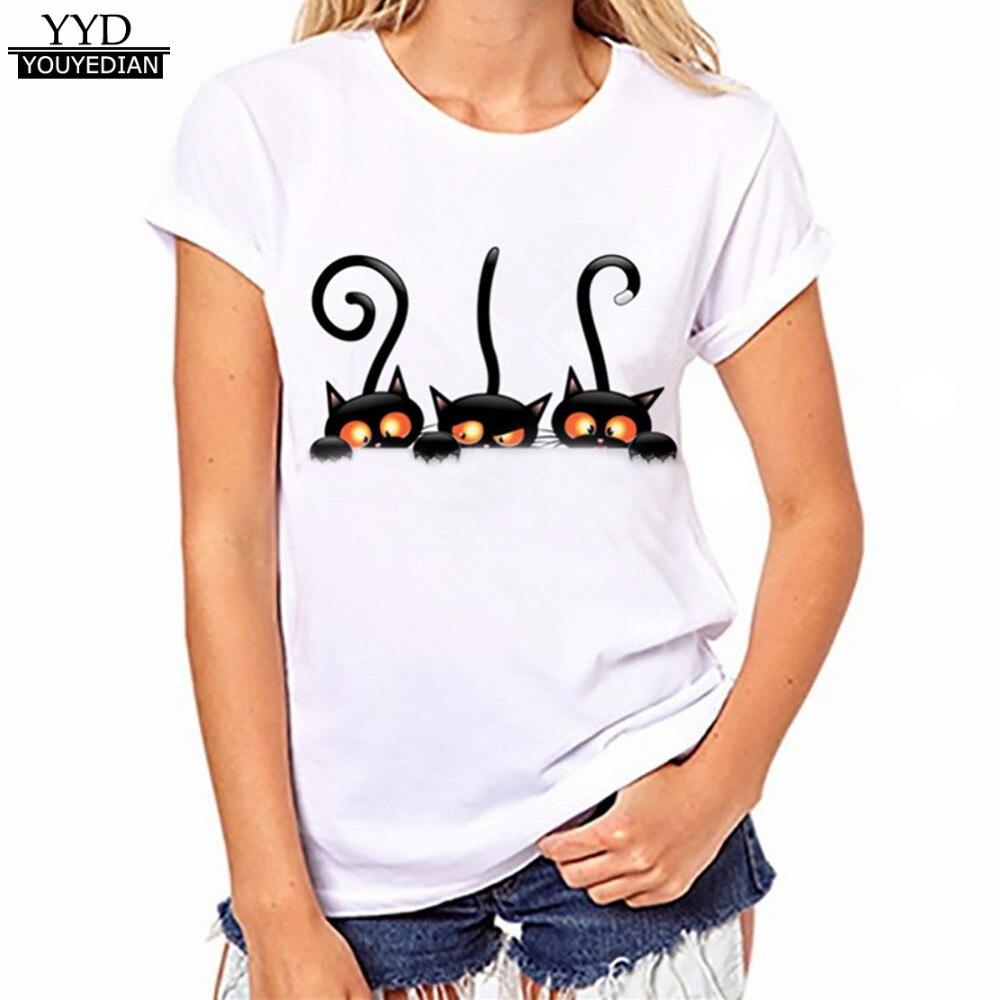 harajuku New Cute Cat Pirnt Animal Tee shirt top Women Fashion t shirt Streetwear Casual Tops Women T-shirts Plus Size XXXL #525