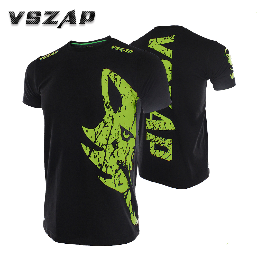 VSZAP GIANT Short Sleeved T-shirt MMA Sports Wolf Fitness Thai Boxing Fight For Venomous Fighting Forest Wind.