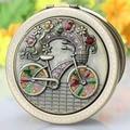 Envío libre mini portátil plegable redondeado cian bicicleta de doble cara cosméticos/maquillaje espejo