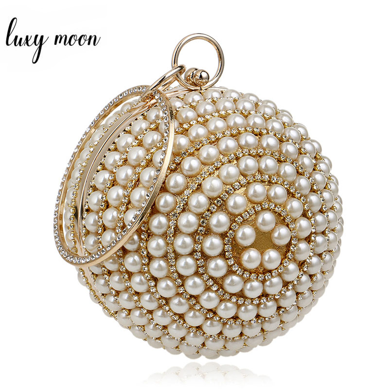 High Quality Womens Pearl Beaded Evening Bags Round Ball Shape Female Clutch Bags Purse Mini Handbag Banquet Wedding BagsHigh Quality Womens Pearl Beaded Evening Bags Round Ball Shape Female Clutch Bags Purse Mini Handbag Banquet Wedding Bags