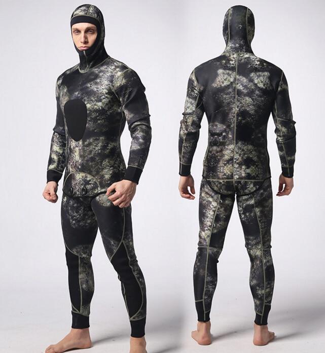 MYLEGEND 2pcs/set Camouflage Wetsuit For Spearfishing 3mm Neoprene Scuba Diving Wetsuit For Men Full Body Swimming Wet