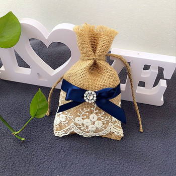50pcs Burlap Wedding Favor Bags / Jute Lace Blue Ribbon Decor for Party Gift Bag, Jewelry Packaging, Herbs Bag, Candy Bags