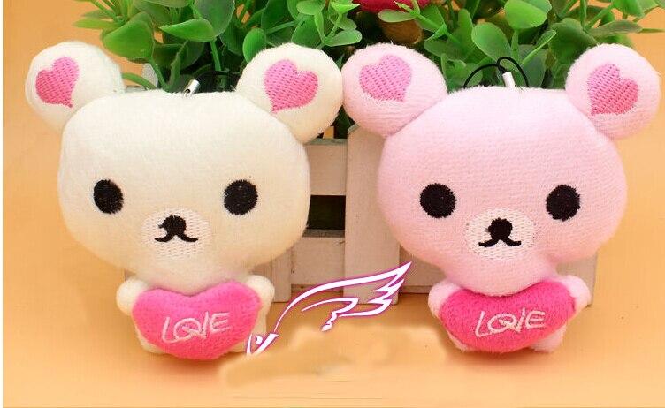 4Pcs Kawaii Standing 10CM Lover Rilakkuma Bear Plush Stuffed TOY , Soft Figure DOLL ,BAG Pendant Charm TOY