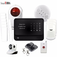 SmartYIBA Touch Panel Security Alarm for Home Wifi Camera Smoke Fire Sensor Panic Alarm Kits WIFI GSM Home Sistema De Seguridad