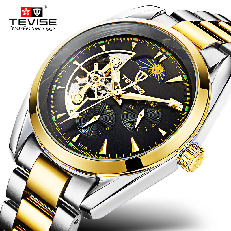 TEVISE Automatic Mechanical Men Watch Tourbillon Self-Wind Leather and Stainless Steel Luxury Gold Wristwatch Hombre 795A tevise men automatic self wind gola stainless steel watches luxury 12 symbolic animals dial mechanical date wristwatches9055g