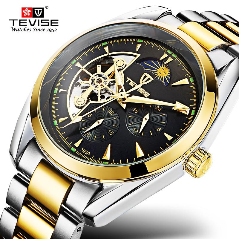 5b1c2f7d64a3 TEVISE automático mecánico hombres reloj Tourbillon auto viento cuero y oro  de lujo de acero inoxidable reloj Hombre 795A en Relojes automáticos de  Relojes ...