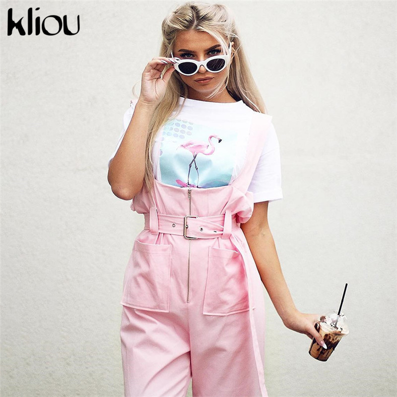Kliou Shoulder Strapes Zipper Pockets Wide Leg Pants Pink Solid Jumpsuit 2018 Autumn Winter New Arrivals Fashion Female Jumpsuit-in Jumpsuits from Women's Clothing