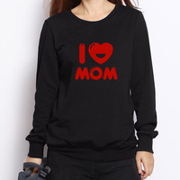 I Love Mom Letter Print Hoodies Women Autumn Fashion Loose Sweatshirts Long Sleeve Crew Neck Tracksuit Mujer Pullovers