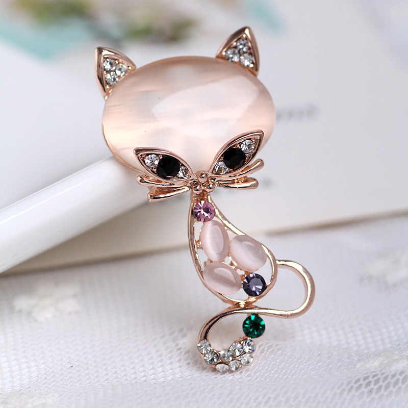 Vintage Pink Cats Brooch Corsage Antique Imitation Opals Animal Brooches For Women Small Hijab Pins bijouterie Dropshipping