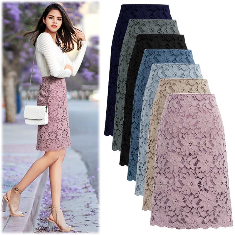 2020 Fashion Lace Women Skirt Large Size Elastic Waist A line Slim Female Skirts Plus Size SkirtsSkirts   -