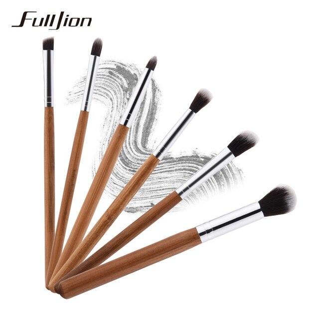 Fulljion 6 шт. профессиональные бамбука Макияж Расчёски для волос комплект Тени для век Pincel Maquiagem Основа для макияжа лица Румяна кисти для макияжа Макиллаж