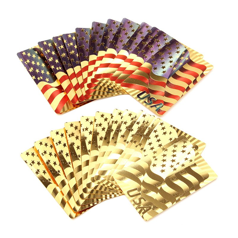 Newest Board Games Golden Playing Cards Deck Gold Foil Poker Set Magic Card 24K Gold Plastic Foil USA Durable Waterproof Cards