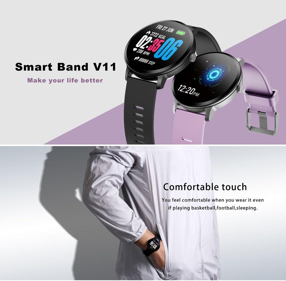 Fentorn V11 Smart watch IP67 waterproof Tempered glass Activity Fitness tracker Heart rate Blood Pressure Men women smartwatch 9