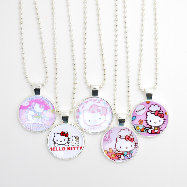 Hello Kitty Pendant ALP 5pcs Hello Kitty Pendant Necklace, Lovely Cat Stainless Steel Chain Necklace,  Cartoon Necklace for Children/Baby/Kids