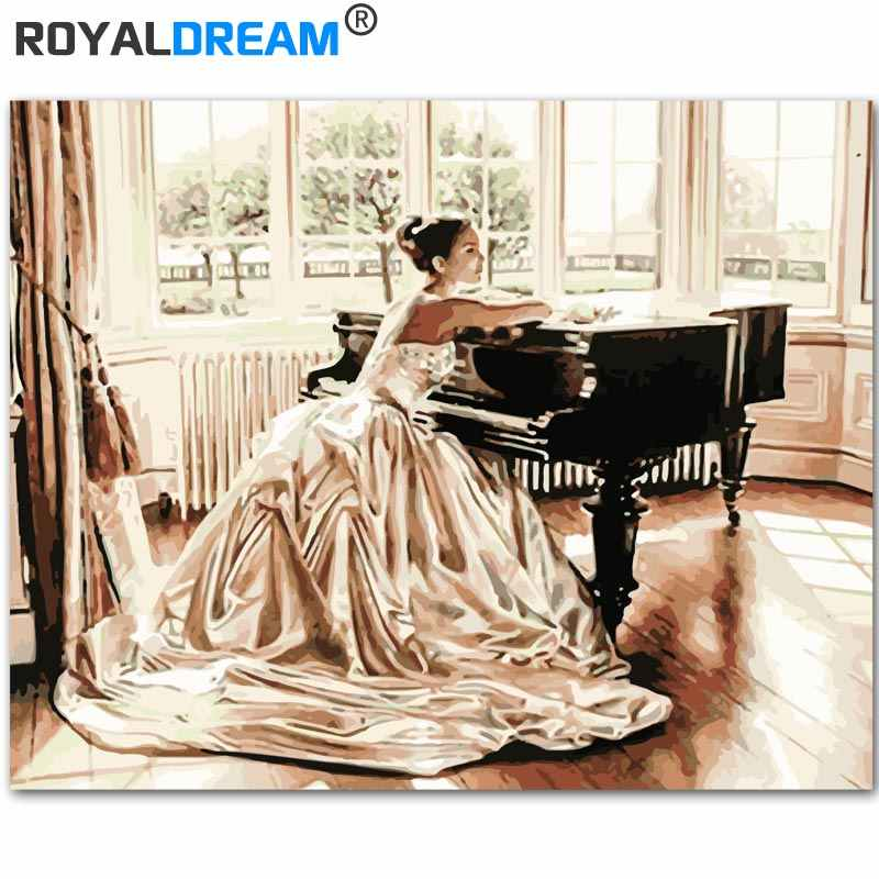 ROYALDREAM Piano Girl DIY Painting By Numbers Handpainted Canvas Painting Home Wall Art Picture For Living Room Unique Gift