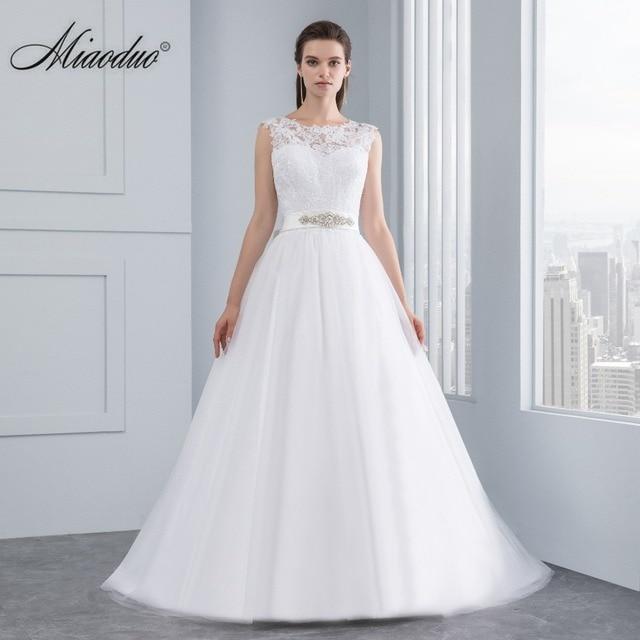 Miaoduo Hochzeitskleid Neue Spitze Brautkleider Satin Backless ...