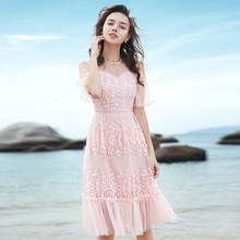 Summer Dress Pink Cute Young Ladies 2019 New Mesh Embroidered Round Neck Flare Sleeved Pleated Elegant Knee Length S-XL