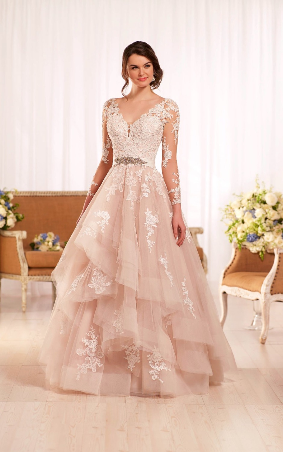 Popular long sleeve lace wedding gown buy cheap long for Long sleeve blush wedding dress