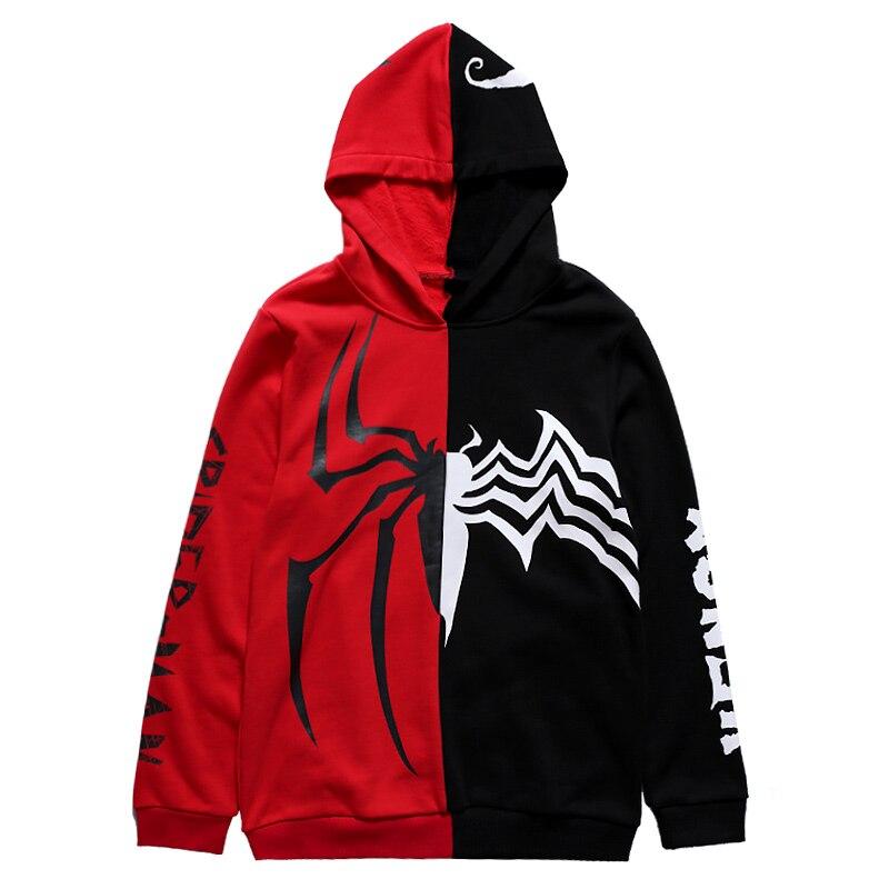 Venom Hoodie Cosplay Spiderman Venom Edward Brock Costumes 3D Superhero Zipper Sweatshirt Hooded Jacket Coat