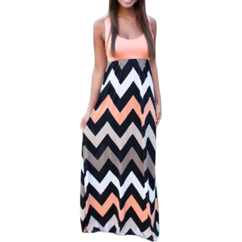 NIBESSER 2018 O-Neck Wave Striped Boho Maxi Dress Women Sexy Sleeveless Print Long Dress Feminine Summer Elegant Beach Vestido