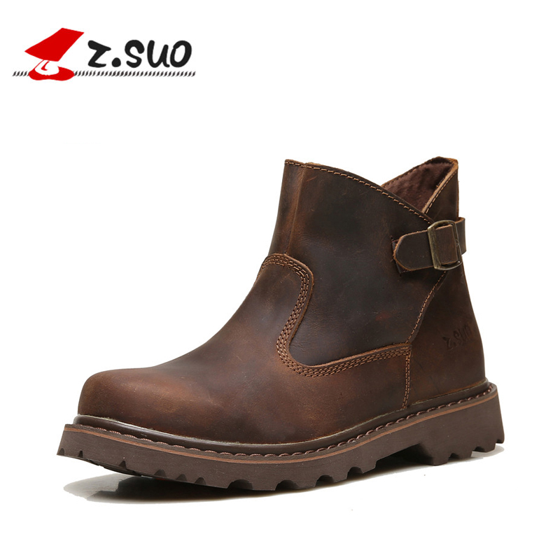 Z. Suo women's boots, high quality genuine leather fashion boots woman, leisure of autumn winter female tooling boots. zs227 de la chance winter women boots high quality female genuine leather boots work