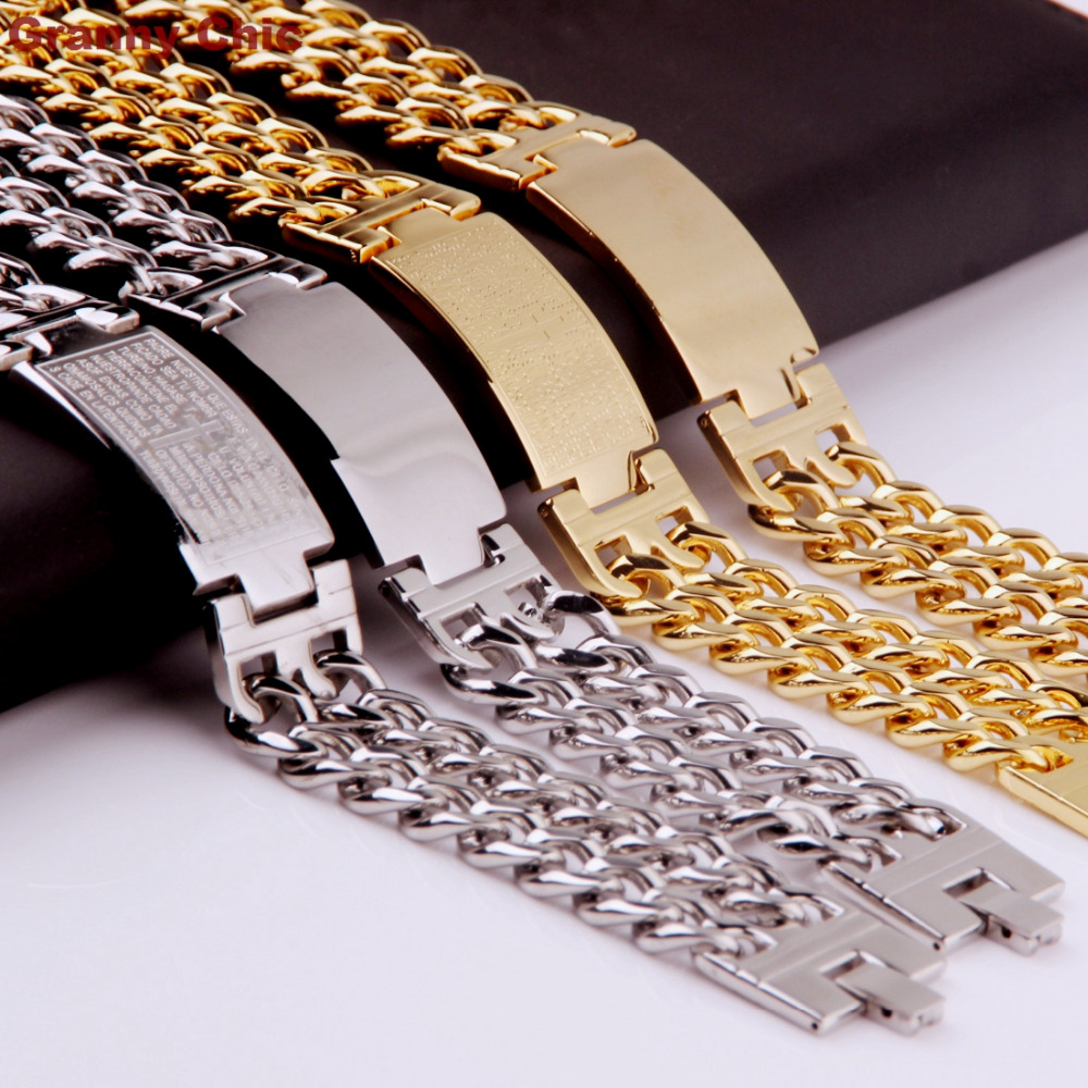 Granny Chic Men's Silver/Gold Stanless Steel Wide Spanish Bible ID Double Link Chain Bracelet