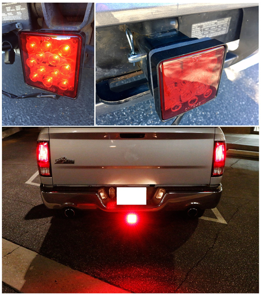 12V Car Truck Trailer Hitch Super Bright 12-LED Tail Brake Fog Light Red  Square Trailer taillight