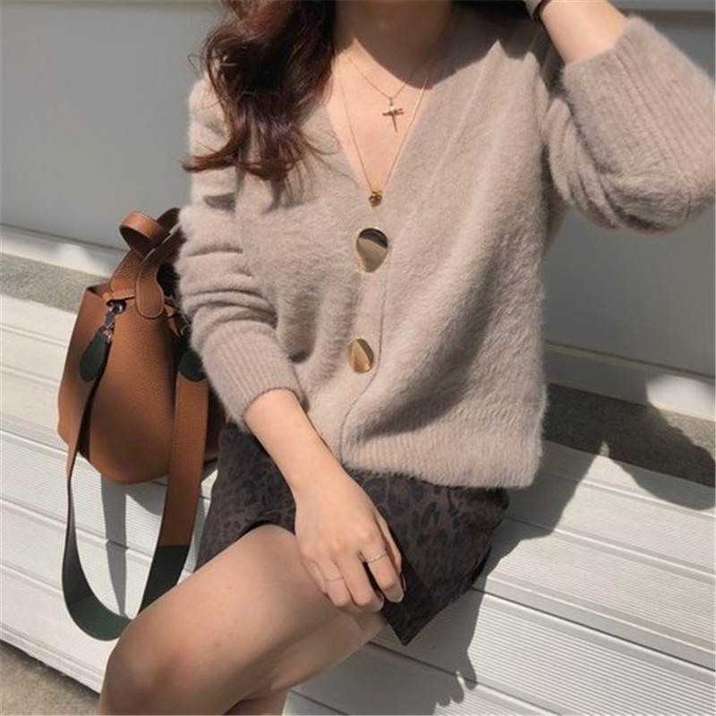 RUGOD Solid Elegant Women Cardigans Casual V-Neck Cashmere Knitted Women Sweaters Slim Autumn Winter Clothes jersey mujer 19 15