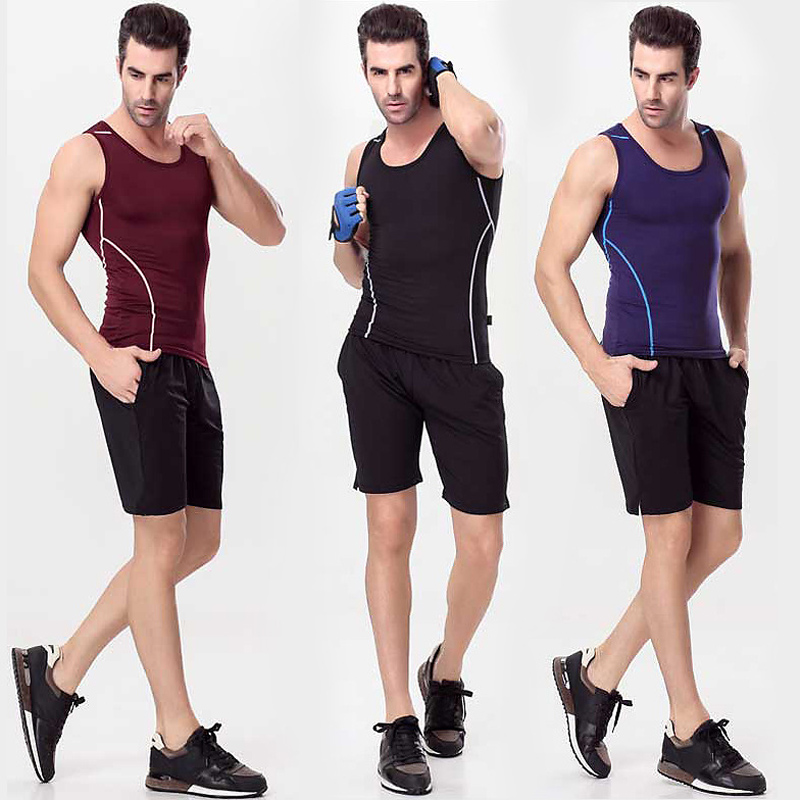 Quick - action short - sleeved shorts suit men s gym running two - piece suit